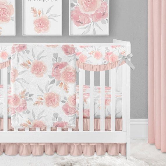 Crib Bedding Set Girl Fl Peach Pink, Baby Girl Pink And Grey Cot Bedding