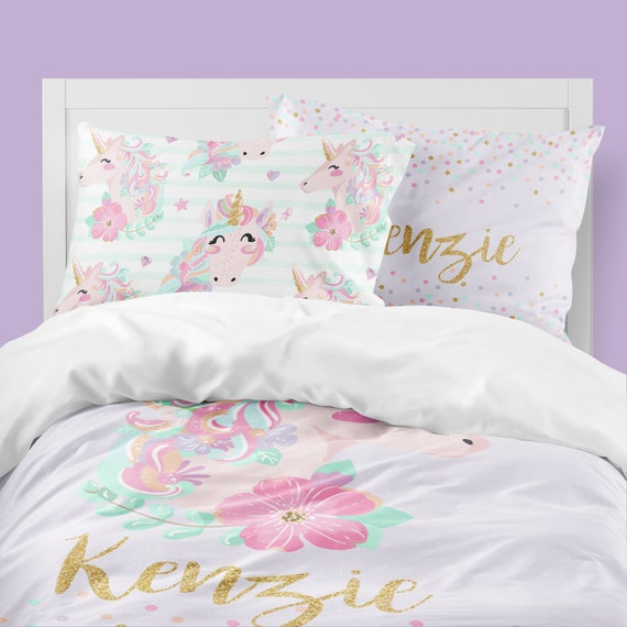 Unicorn Girls Room Unicorn Bedding Set Personalized Toddler Bedding Comforter Duvet Cover Pillowcase Set Pink And Purple Confetti