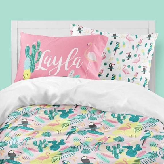 Toddler Bedding Twin Comforter Queen Duvet Cover Tropical Pineapple Cactus Little Girls Room Flamingo Bedding Girls Bedding Set