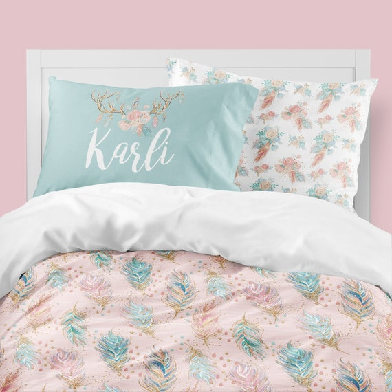Teenage Bedding Sets Full.Woodland Girls Room Boho Girls Bedding Twin Full Toddler Comforter Girl Queen Duvet Cover Bedding Sets Kids Feathers Antlers Flower
