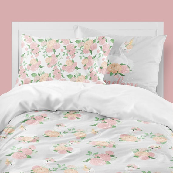 Toddler Bedding Floral Swan Twin Comforter Queen Duvet Cover Peony Girl Bedding Set Pink Kids Room Decor Bedding Set Swan Lake