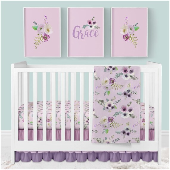 Floral Baby Bedding Purple Crib Bedding Set Floral Nursery Etsy