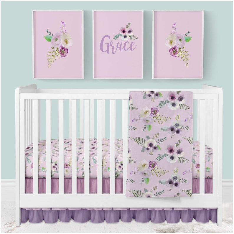 Delicieux Floral Baby Bedding, Purple Crib Bedding Set, Floral Nursery Decor, Baby  Blanket, Crib Sheet, Nursery Wall Art, Ruffle Crib Skirt