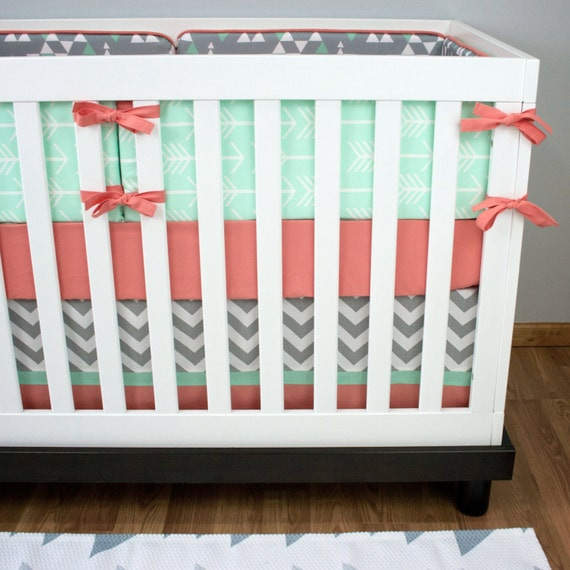 Girl Crib Bedding Mint And Coral Arrow Baby Bedding Girl Etsy