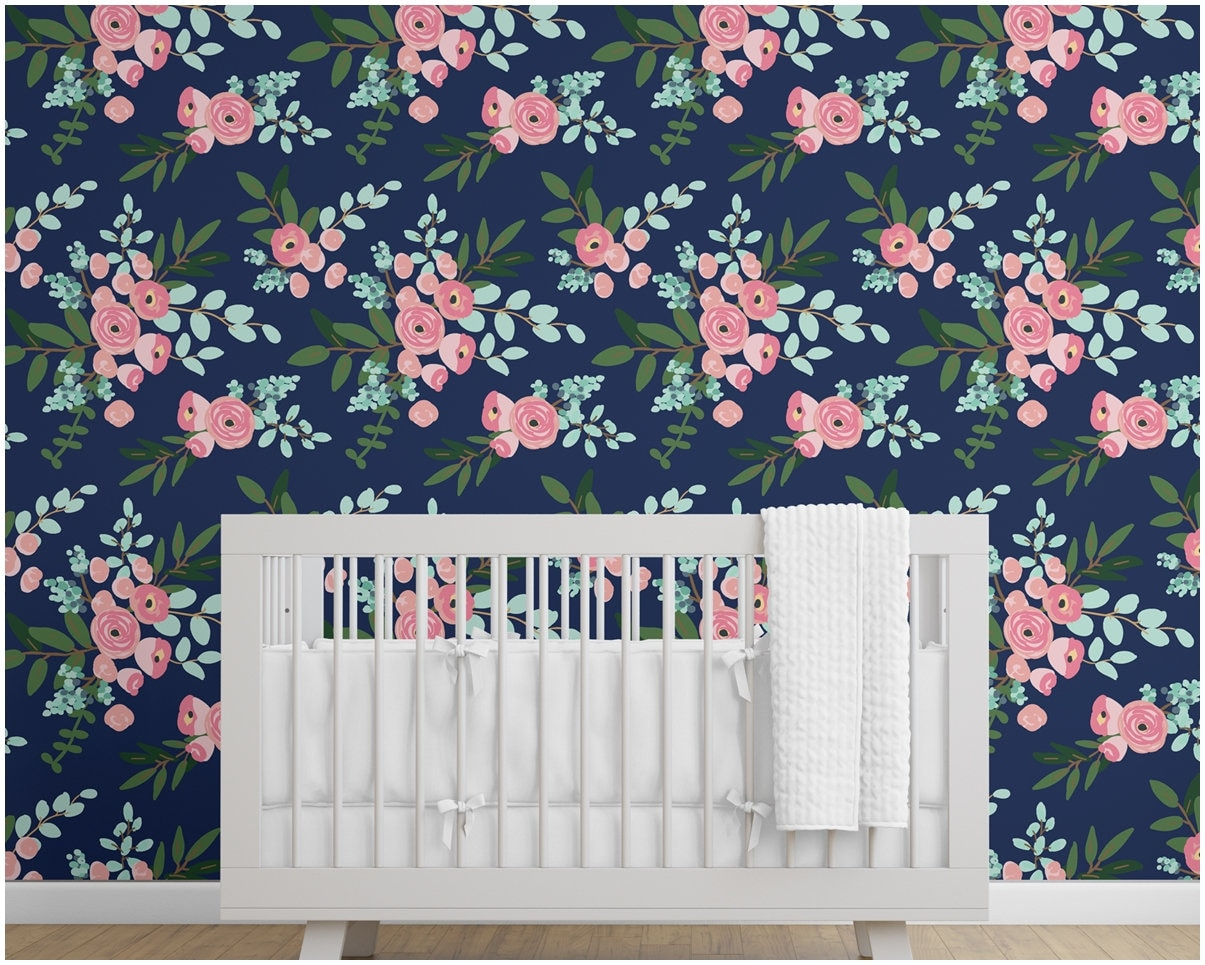 Navy Floral Wallpaper Peel And Stick Removable Watercolor Etsy