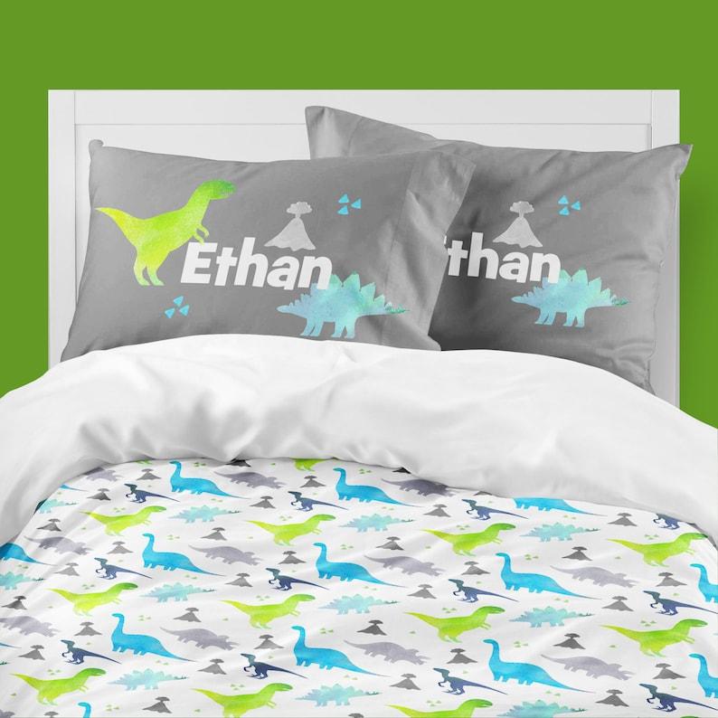 9331baa247716 Dinosaur Boy Room, Toddler Bedding Set, Twin Comforter, Personalized,  Pillowcase Set, Blue, Green, Gray, T Rex, Dinosaur Bedding