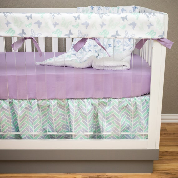 Girl Crib Bedding Purple And Mint Butterfly Nursery Set Etsy