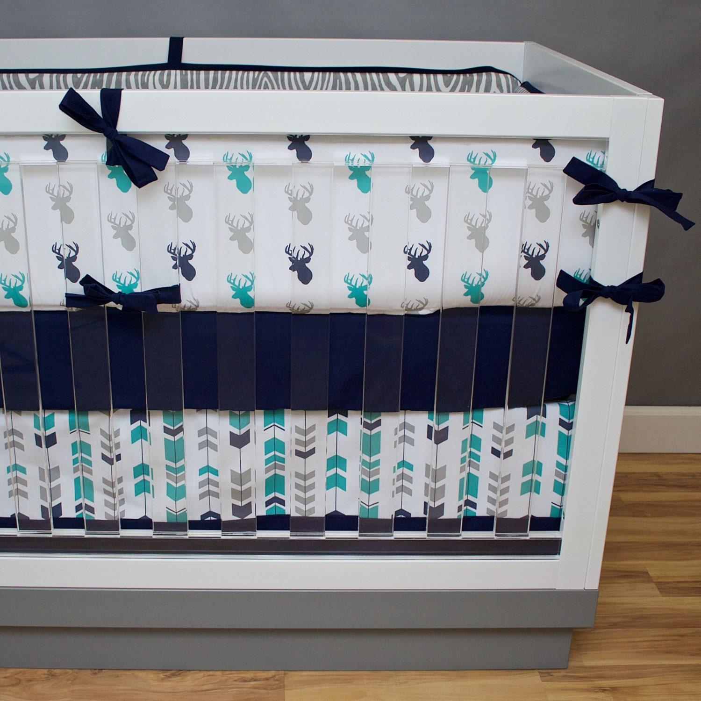 Teal Deer Cribset Buck Crib Bedding Deer Crib Bedding Stag