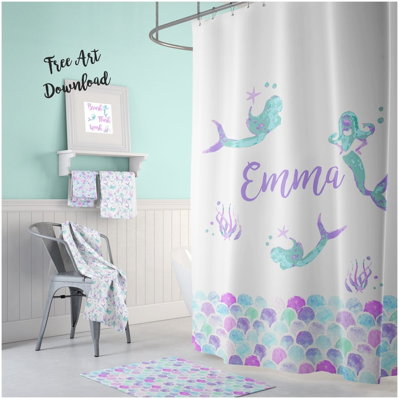 Mermaid Shower Curtain Personalized Kids