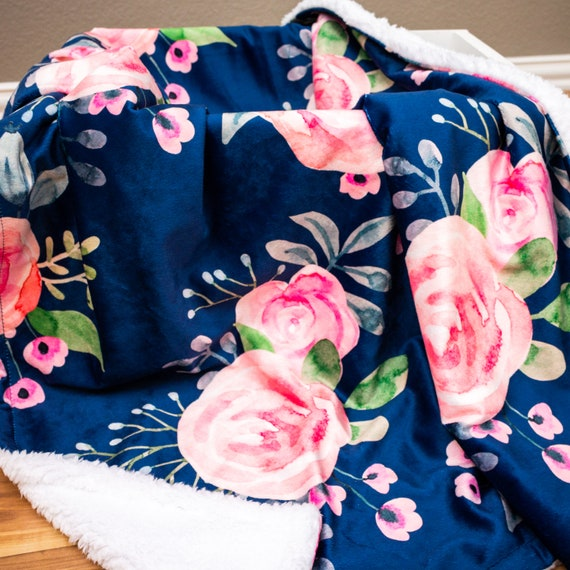 Carseat Baby Blanket Cotton Coral Blush Navy Floral Minky backing 19 colors Carseat Blanket Crib Blanket Minky Blanket