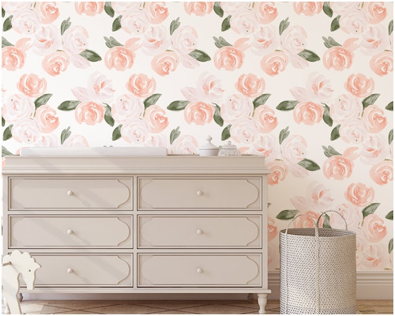 Wallpaper Watercolor Floral Removable Peel And Stick Pink Peach Blush Floral Nursery Wall Art Girls Room Vintage Romantic