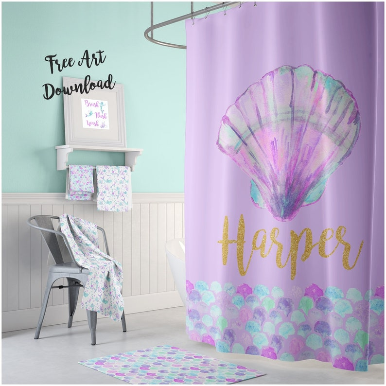 Mermaid Shower Curtain Kids Room Decor Personalized