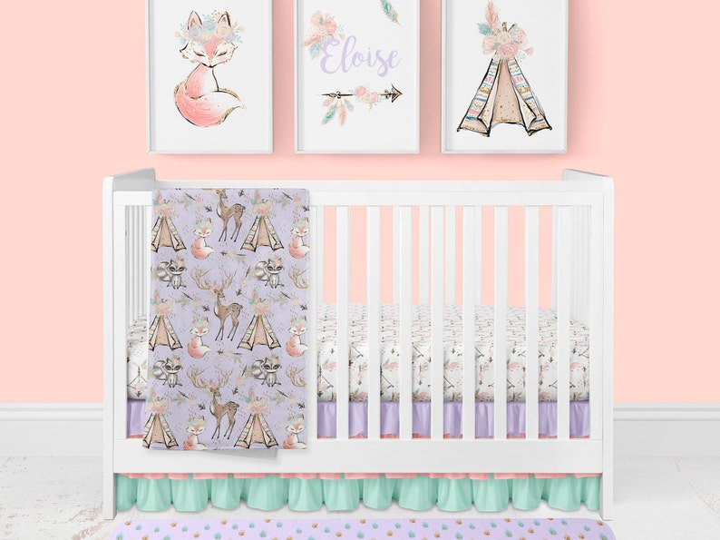 ac7becc04493b Woodland Nursery Baby Girl Crib Bedding Boho Fox Teepee