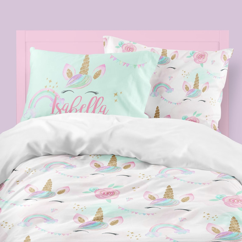 Unicorn Girls Room Unicorn Girls Bedding Rainbow Floral image 0