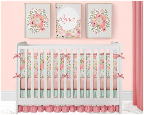Floral Baby Pillow Floral Nursery Decor