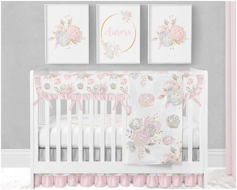Unique Baby Girl Crib Bedding Viewer, Baby Girl Pink And Grey Cot Bedding