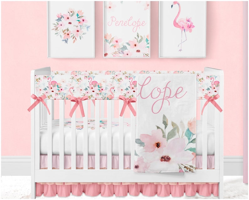 1e292e2f271c3 Floral Crib Bedding Baby Girl Nursery Set Flamingo Baby