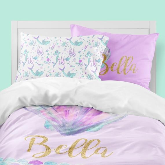 Mermaid Girls Room Mermaid Bedding Personalized Twin Etsy