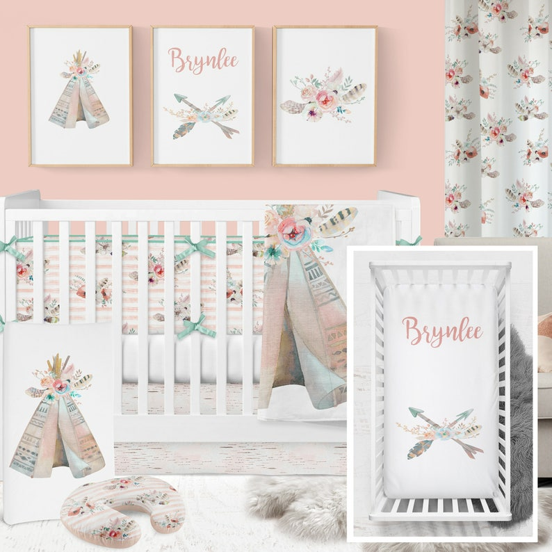 602830cd4080a Boho Crib Bedding, Tribal Girl, Crib Bedding, Girl Teepee Cribset, Girl  Tribal Cribset, Coral Mint Girl Crib, Boho Floral Cribset