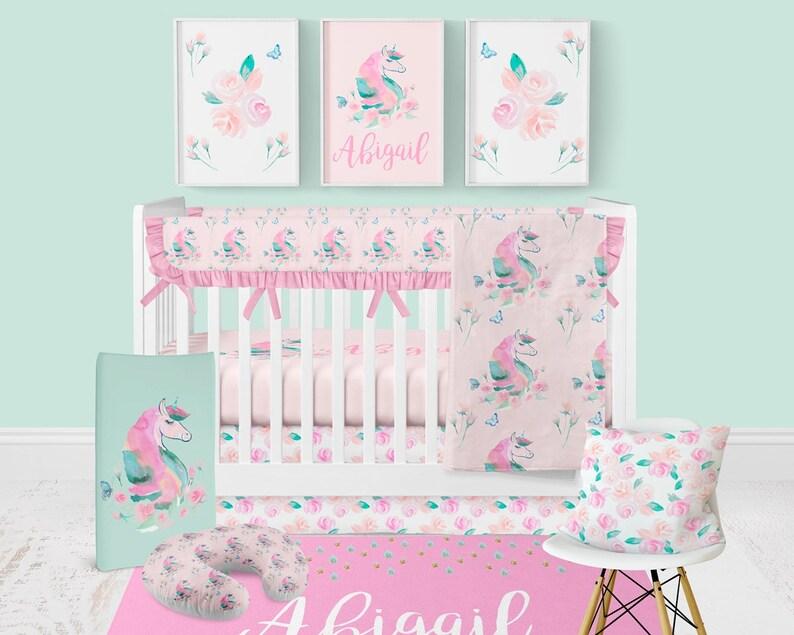 Floral Krippe Bettwäsche Baby Mädchen Kinderzimmer Einhorn Etsy