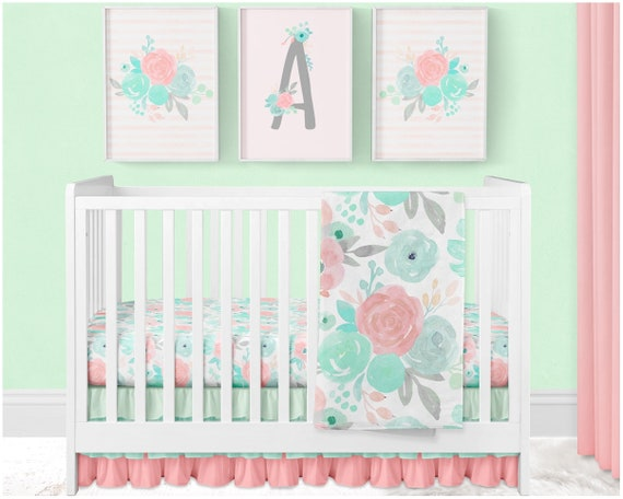 Girl Nursery Bedding Set Floral Baby Bedding Mint Crib Etsy