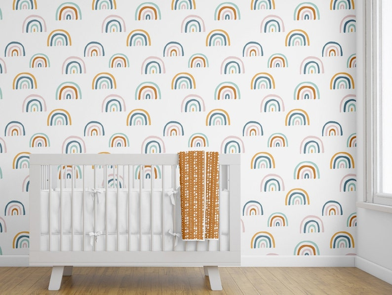 Removable Wallpaper Rainbow Wallpaper Peel And Stick Boho Earth Tones Rust Gold Mint Boho Wallpaper Nursery Kids Room Bohemian