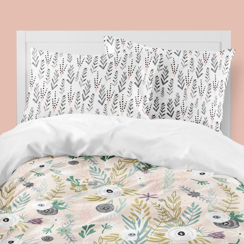 Peachy Floral Bedding Set Peach Mint Girls Dorm Room Decor Wildflowers Comforter Duvet Cover Queen Twin Xl Pillowcases King Size Bedding Download Free Architecture Designs Scobabritishbridgeorg