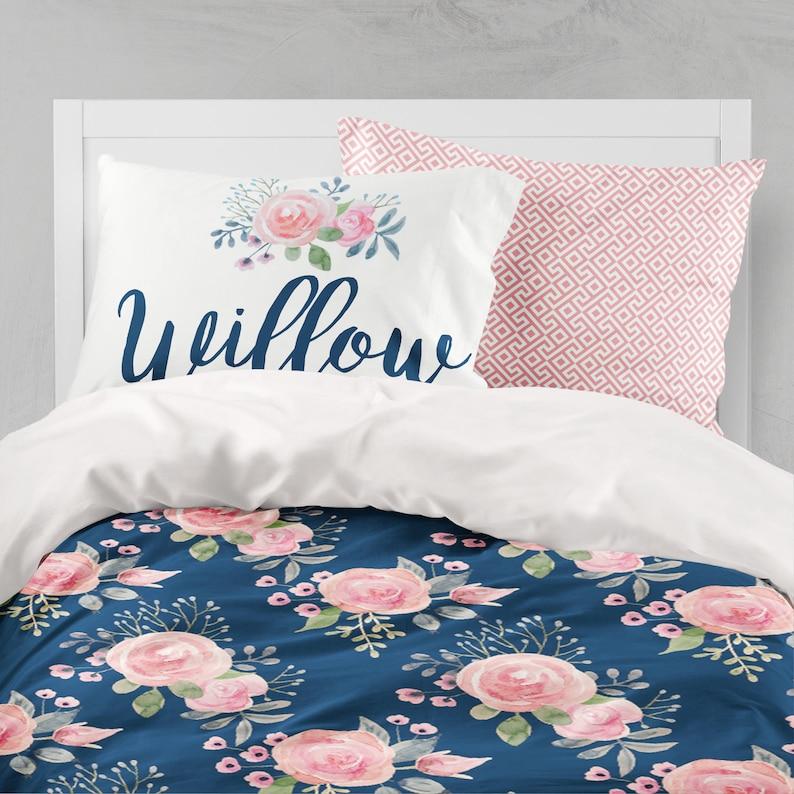 hot sales 43406 ef6bd Floral Duvet Cover, Twin Bedding Set, Girls Room, Queen, King, Comforter,  Dorm Bedding, Twin XL, Toddler Bedding, Teen Room, Name Pillow