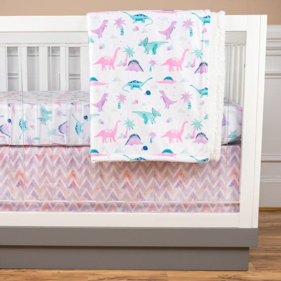 Dinosaur Crib Bedding Baby Girl Nursery Pink Purple Mint ...
