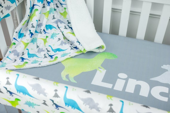 Baby Boy Nursery Set, Crib Bedding, Dinosaur Nursery, Blue and Lime Green,  Personalized Crib Sheet, Rail Guards, Nursery Art, Baby Blanket