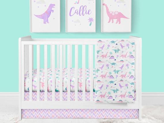 Girl Crib Bedding Dinosaur Nursery Pink, Dinosaur Nursery Crib Bedding