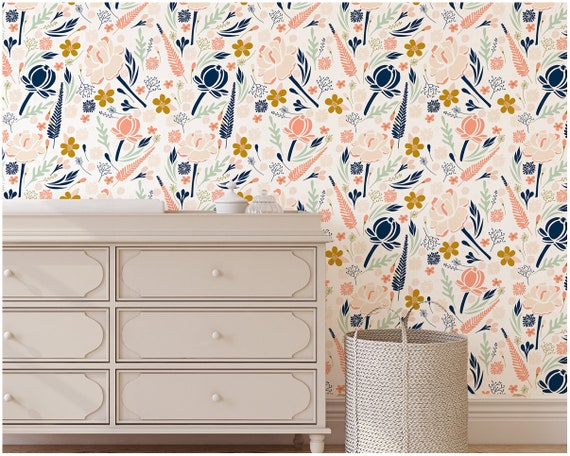 Removable Wallpaper Peel And Stick Floral Nursery Wall Art Coral Navy Mint Gold Nursery Decor Girls Room