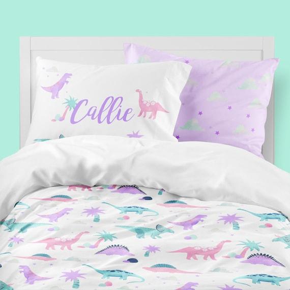 Girls Room Bedding Pink Purple Dinosaur, Pink Purple Bedspread Queen