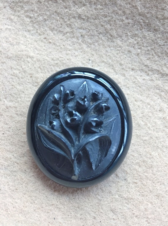 Victorian Brooch Whitby Jet Lily of the Valley
