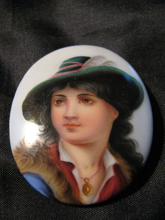 Victorian Brooch Porcelain Vagabond Boy