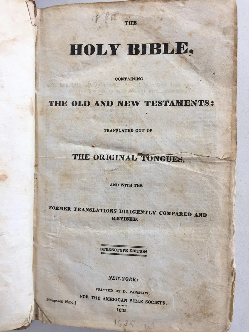1835 King James Bible Complete - American Bible Society