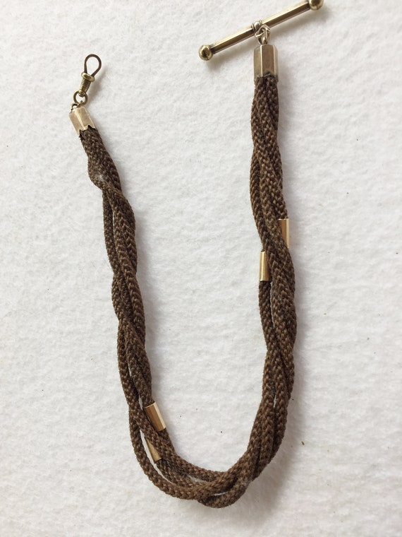 9a341523522d6 Victorian Hair Albert Watch Chain with Gold Findings