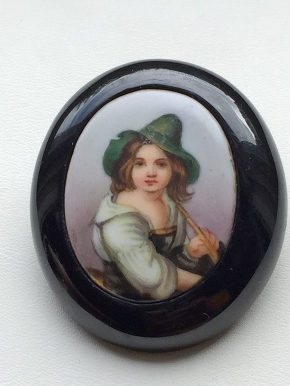 Victorian Brooch Whitby Jet Painted Porcelain Tyro