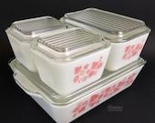 Vintage Pyrex Pink Gooseberry Complete Refrigerator Dish with Lids Set 501 502 503