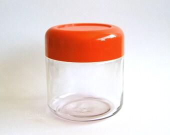 Vintage Modern Heller Glass Storage Jar Canister With Red Orange Plastic Lid