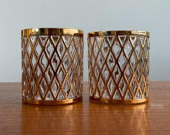 2 Imperial Glass Sekai Ichi 22K Gold Criss Cross Old Fashioned Barware Glasses