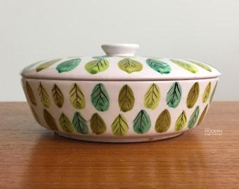 Bitossi Raymor Italian Leaf Design Modern Ceramic Candy Dish with Lid