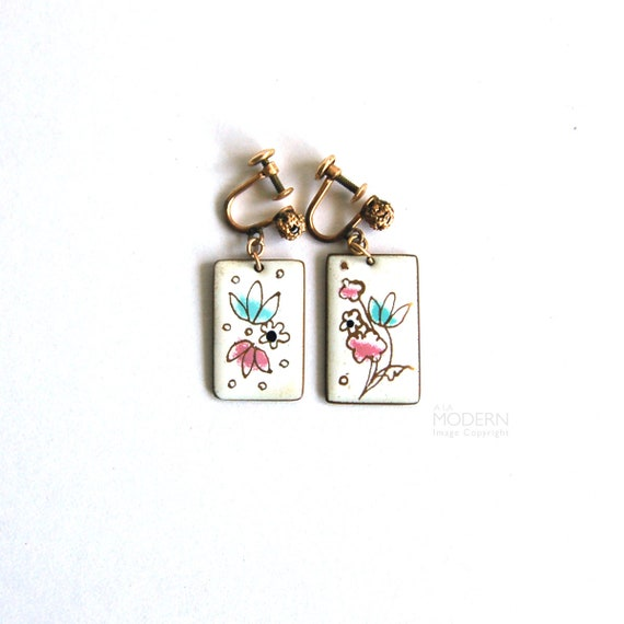 Vintage Gerte Hacker Rectangular Enamel Clip On Earrings White with Pink Blue Flowers
