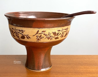 Modern Studio Pottery Stoneware Footed Punch Bowl with Ladle