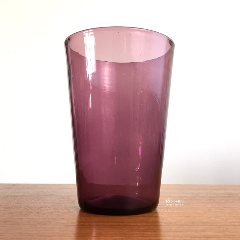 Blenko Glass No 366S Purple Beaker Vase Minimal Tumbler Cup