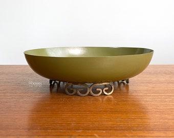 Kyes Pasadena Green Moire Glaze Footed Enamel Bowl