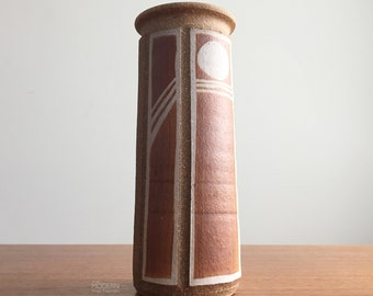 Bob Sakoda Modern Cylindrical Incised Moon Studio Stoneware Vase
