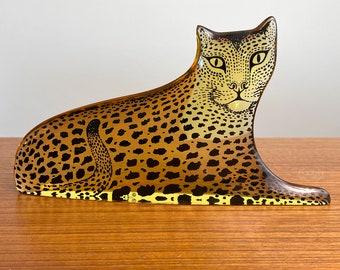 "Abraham Palatnik Large Lucite Leopard 9"" Golden Cat Figurine"