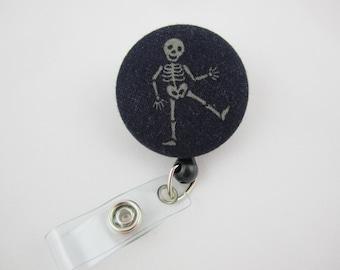 Friendly Skeleton Badge Reel - Orthopedic Doctor or Nurse Badge Holder - Retractable & Swivel Clip  - Ready to Ship - Bones