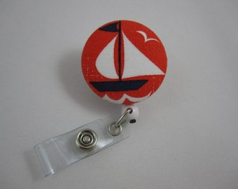 Sailboat Badge Reel - Red White and Blue - ID Holder - Swivel Alligator Clip - Sailor Nautical Theme